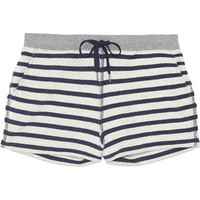 T by Alexander Wang - Striped cotton-terry shorts