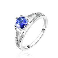 Round Cubic Zirconia Sapphire Blue Engagement Ring
