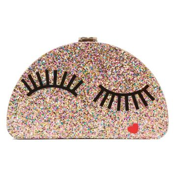 Glitter Eyelash Half Moon Clutch