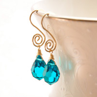 Teal Crystal Earrings 14K Gold Fill Spirals by GueGueCreations