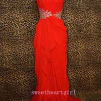 Elegant Sexy Red Chiffon irregular Prom Dress