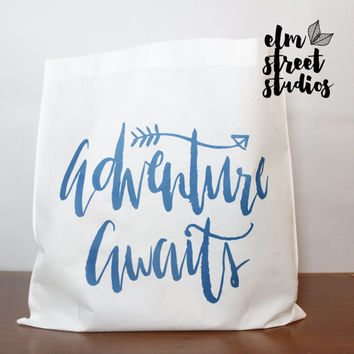 Adventure Awaits  Lightweight Tote  Reusable Tote Bag Travel Tote
