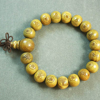 Tibetan Natural Sandalwood Wood Beads Buddhist Buddhism Buddha Prayer Stretchy Mala Bracelet DI71