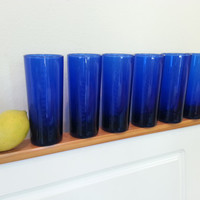 Dark Blue Glasses, Drinking Glass Set of 6, Tumblers, Water Glasses, Cocktail Glasses, Tall Cobalt Blue, FREE US Shipping