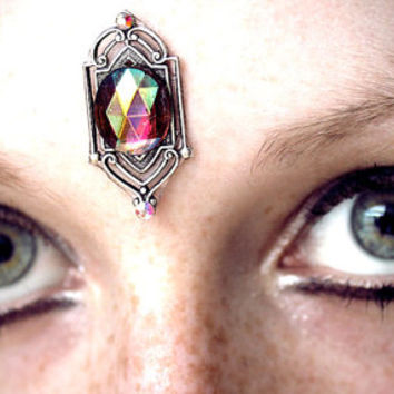 Window Bindi, art deco, aurora borealis, iridescent, purple glass, tribal fusion, bellydance, Renaissance Faire, fairy, forehead jewelry