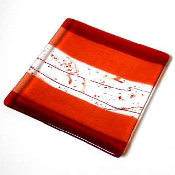 Coral and Orange Art Glass Plate with Stringer Accents, 8 Inch Square, Fused Glass Platter