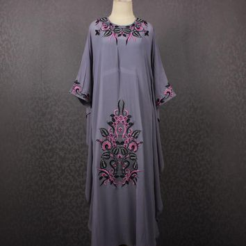 Moroccan Gray Caftan Dress, Embroidery Kaftan Dress, Oversize Gray Kaftan Dress, Plus Size Maxi Caftan Dress Summer Chiffon Kaftans