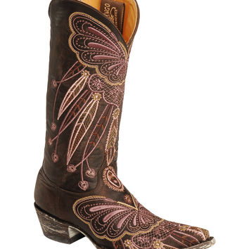 Old Gringo Lakota Purple Butterfly Embroidered Cowgirl Boots - Pointed Toe - Sheplers