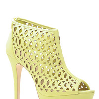 Play Time Lime Peep Toe Booties