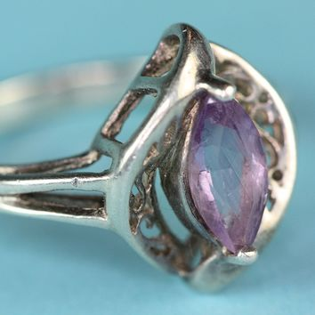 Vintage Sterling and Amethyst Ring Filigree Design Size 7.25 Signed Avon