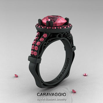 Caravaggio 14K Matte Black Gold 3.0 Ct Light Tourmaline Engagement Ring, Wedding Ring R620-14KMBGLTU