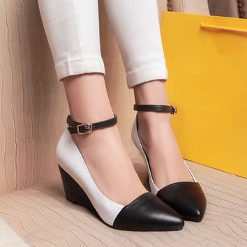 Korean 2014 Fashion Spring Fall Women Black And White Wedge Pumps Color Block Ankle Strap Pointed Cap Toe Genuine Leather Oxford