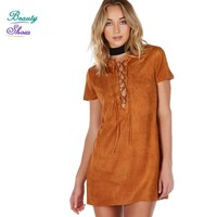 Lace Up Sexy Deep V Neck Short Sleeve Mini Dress Women Solid Party Dresses