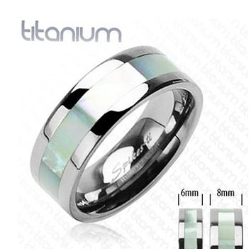 8mm Mother of Pearl Inlayed Band Ring Solid Titanium Men's Ring