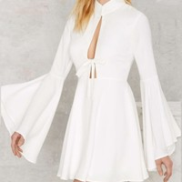 Women's Sexy Hollow Out Round Neck Bell Sleeve Summer A-Line Mini Dress