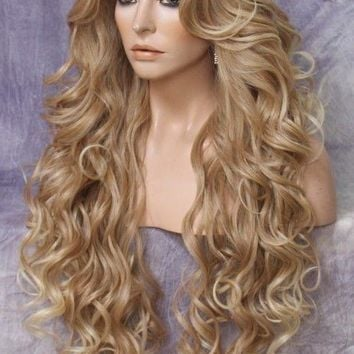 "38"" Long Lace Front Wig Curly bangs Blonde mix Hair Piece Fashion WEPR 27/613"