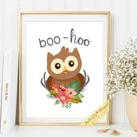 Wall art nursery decor print Quote boo hoo Owl illustration quote art printable nursery baby animals framed quotes for baby room decor