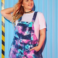 Plus Size Size Tie Dye Button Pocket Denim Overalls