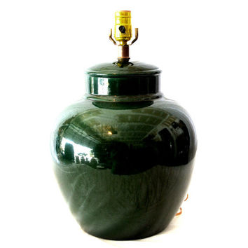 Vintage Emerald Green Ginger Jar Lamp