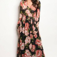 """Romance"" Fall Floral Wrap Maxi Dress - Black"