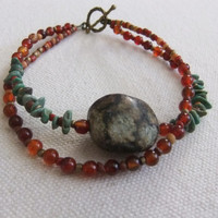 Turquoise and Red Agate Double Strand Bracelet