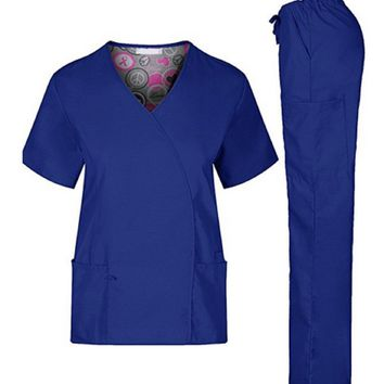 Nursing Scrub Set Medical Women Stylish Tops Pants XS-2XL