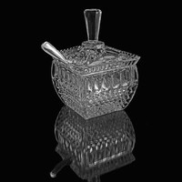 Cut Crystal Sugar Bowl, Jelly or Jam Jar. Square with Lid and Sterling Silver Spoon