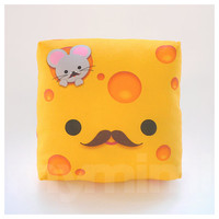 Decorative Pillow, Mustache Pillow, Cheese Pillow, Yellow Pillow, 7 x 7""