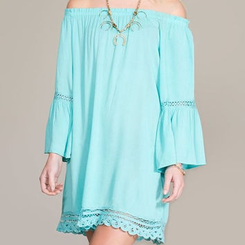 Eliza Bella for Flying Tomato NEW Mint Boho Hippie Off Shoulder Bell Sleeve Dres