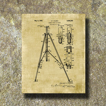 Camera Tripod Patent 1941 Print Art Illustration Printable Instant Download Poster UP0120bur