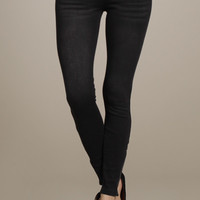 Blue Jean Baby Stretch Denim Skinny Jeggings with Ankle Zipper Detail - Distressed Black