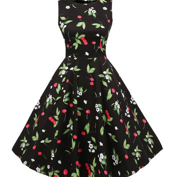 1950's Vintage Cherry Printed Garden Party Picnic Dress