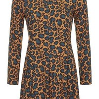 TALL High Neck Animal Print Dress - Rust