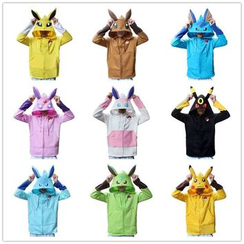 Anime  Go Pikachu Umbreon Ears Hoodies halloween costume for Women Men Cosplay Costumes Adult Unisex Hoodies SweatshirtKawaii Pokemon go  AT_89_9