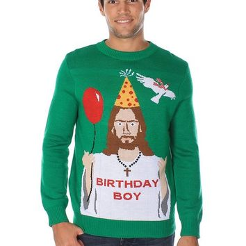 mens ugly christmas sweater happy birthday jesus sweater green size l - Ugly Christmas Sweater Amazon