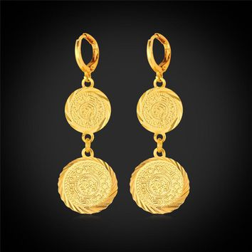 Kpop Coin Earring yellow Gold Color Money Symbol Jewelry Trendy Gift Drop Earring Arabic Islam Item for women E210
