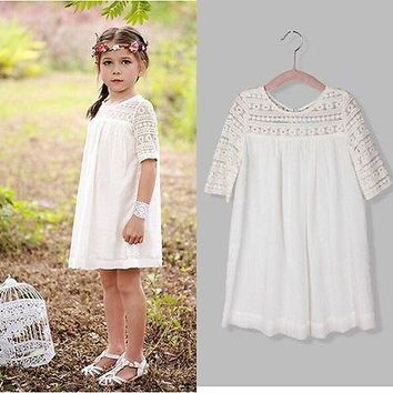 2016 Chic Fairy Baby Girls Lace Floral Party Dress Solid Gown Fancy Dresses Clothes
