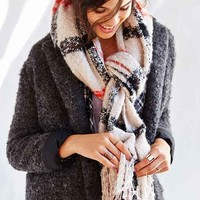 Brushed Plaid Blanket Scarf-