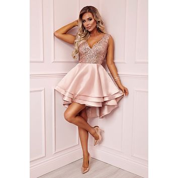 Heart Broken Pink Gold Sequin Multi Layer Cocktail Party Skater Dress