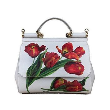 Dolce & Gabbana Miss Sicily Floral Tulip Print White Dauphine Leather Medium Bag Handbag Purse Tote