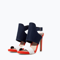 Three-tone high heeled sandal