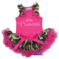 Newborn Baby Camo Pettiskirt Rhinestone Princess Pink Tank Top Party Dress 3-6M