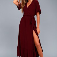 Enchanted Wine Red Midi Dress