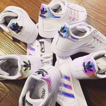 2018 Original Adidas Women Fashion Reflective Flats Sneakers Sport Shoes