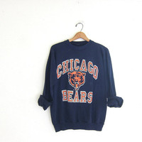 20% OFF SALE vintage Chicago bears sweatshirt. distressed sports sweatshirt. blue and orange