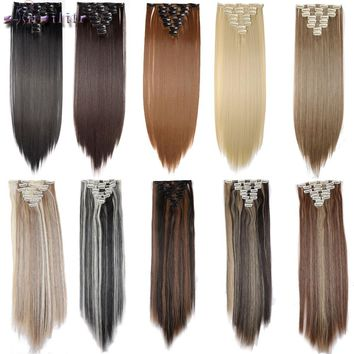s-noilite 8 Piece 18Clips on Clip in Hair Extensions Full Head Black Brown Blonde Auburn Synthetic Heat Resistant Hair Extension
