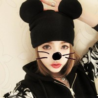 Hot Sale Women Winter Hat Korean tidal knitting Wool Cute Mickey Cap Outdoor Warm Knitted Cat's Ears Hat Lovely Mouse Ears Cap