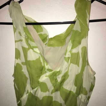 Caractére Vintage Dress Soft Green and Cream, size 8, Excellent Condition!