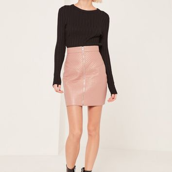 Missguided - Nude Quilted Zip Through Faux Leather Mini Skirt
