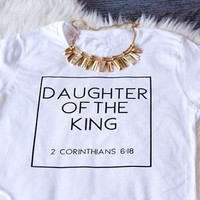DAUGHTER OF THE KING tumblr T-shirt women lady fashion shirt short sleeve graphic Tees top Unisex cotton clothing tshirt